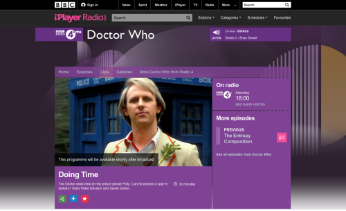 Doctor Who Doing Time on BBC iPlayer 2015