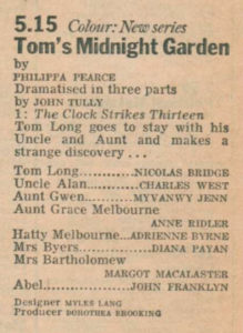 Tom's Midnight Garden billing in Radio Times 1974