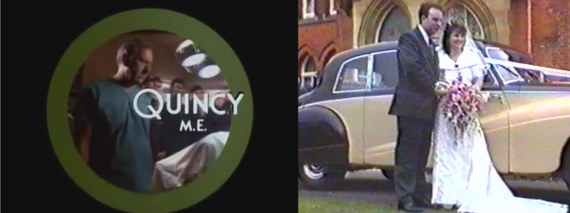 The Quincy title sequence on left and mine and Angela's wedding on right