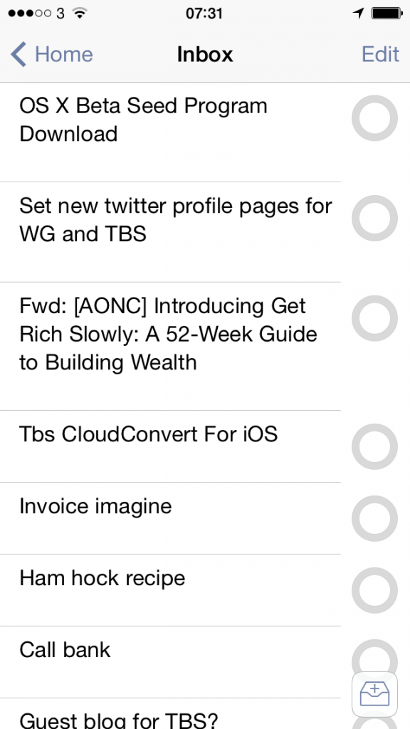 OmniFocus 2 for iPhone shot